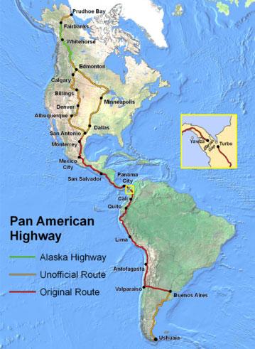Le saviez-vous?La route la plus longue du monde s'étend de l'Alaska au point le plus extrême de l'Amérique du Sud ! Route-panamericaine2