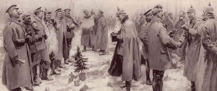 Durant le premier noël de la première guerre mondiale, des soldats alliés et allemands ont fait une trêve pour faire la fête ensemble !