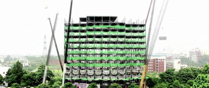 En Chine, un hôtel de 15 étages a été construit en seulement 6 jours !