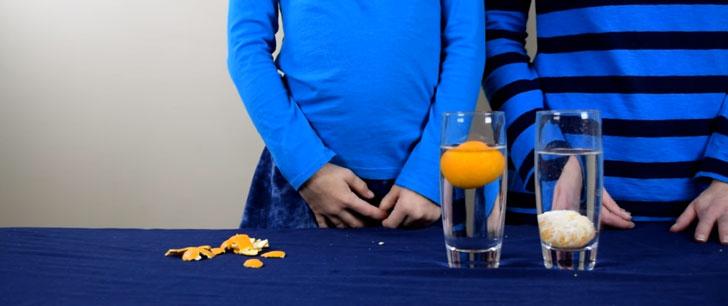 Une orange avec sa peau flottera sur l'eau, une orange pelée coulera !